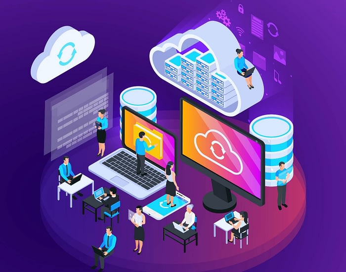 Isometric Cloud Office Composition