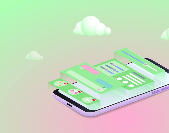 Mobile Application Development concept, Smartphone user interface design vector