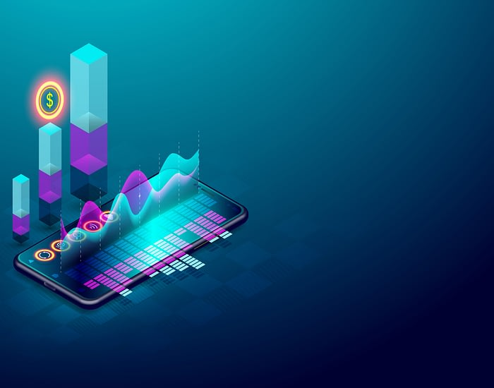Business trend analysis on isometric smartphone screen with grap